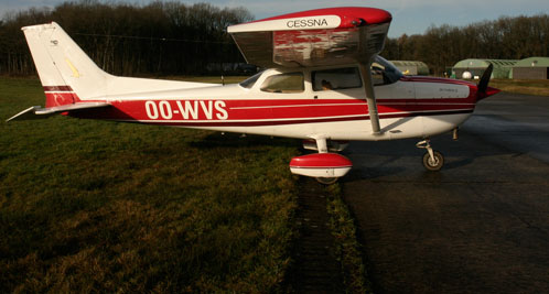 Cessna 172 OO-WVS parked at Ursel (EBUL)