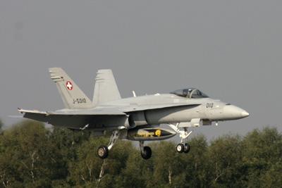 Swiss F/A-18 Hornet landing