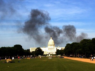 Black smoke over the US Capitol