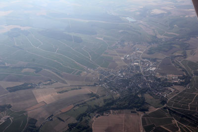 Overflying the wine city of Chablis