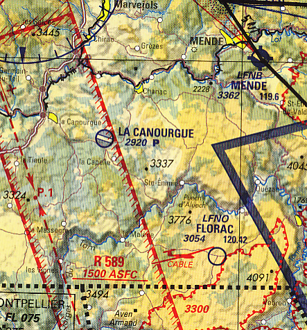 Aviation chart of the Lozère region