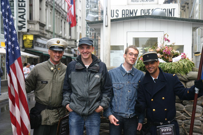 Posing at Checkpoint Charlie