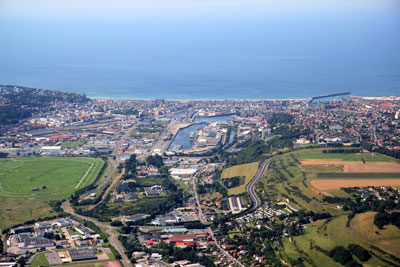 The harbour of Dieppe from the air
