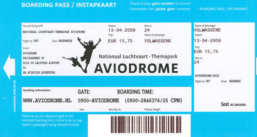 Entry ticket to Aviodrome