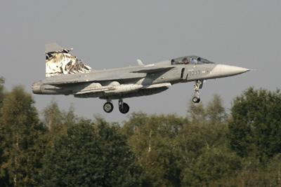 Swedish Saab Gripen Landing