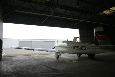 Mooney in hangar
