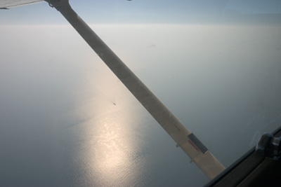 North Sea under the wing