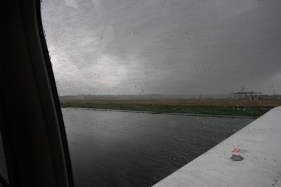 Rain, low clouds and windy instrument arrival in Berlin Tempelhof (EDDI)