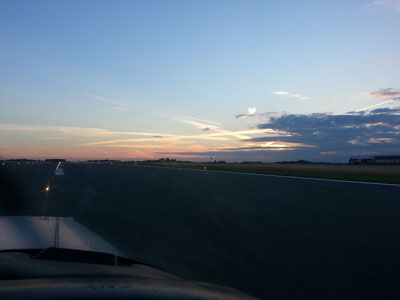 Runway 26 in Lille at night