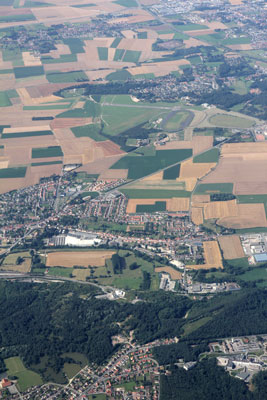 Saint Omer airport and La Coupole from the air
