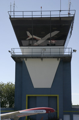 Our Cessna refelecting in the Tower of Merville (LFQT)