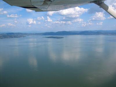 Trasimeno lake from the air